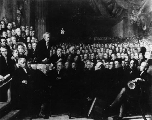 Thomas Clarkson addressing the Convention of the Anti-Slavery Society at the Freemason's Hall, London. Original Artwork: Engraving by B R Hayden   (Photo by Hulton Archive/Getty Images)